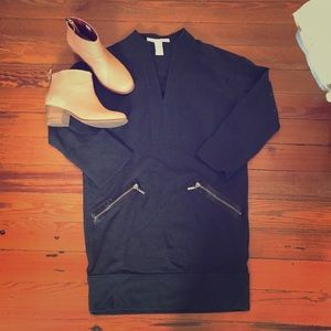 (Diane VonFurstenberg) black longsleeve mini dress